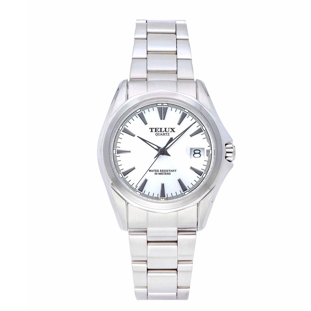 台灣品牌手錶腕錶【TELUX鐵力士】復刻經典男腕錶手錶39MM台灣製造石英錶7000W-W鋼帶白面
