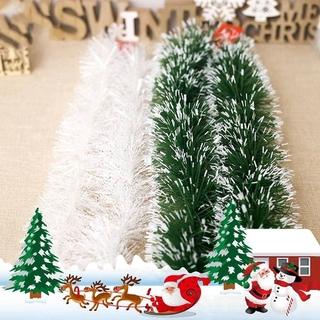 200cm 聖誕裝飾酒吧上衣絲帶花環聖誕樹裝飾品白色深綠色藤條金屬絲