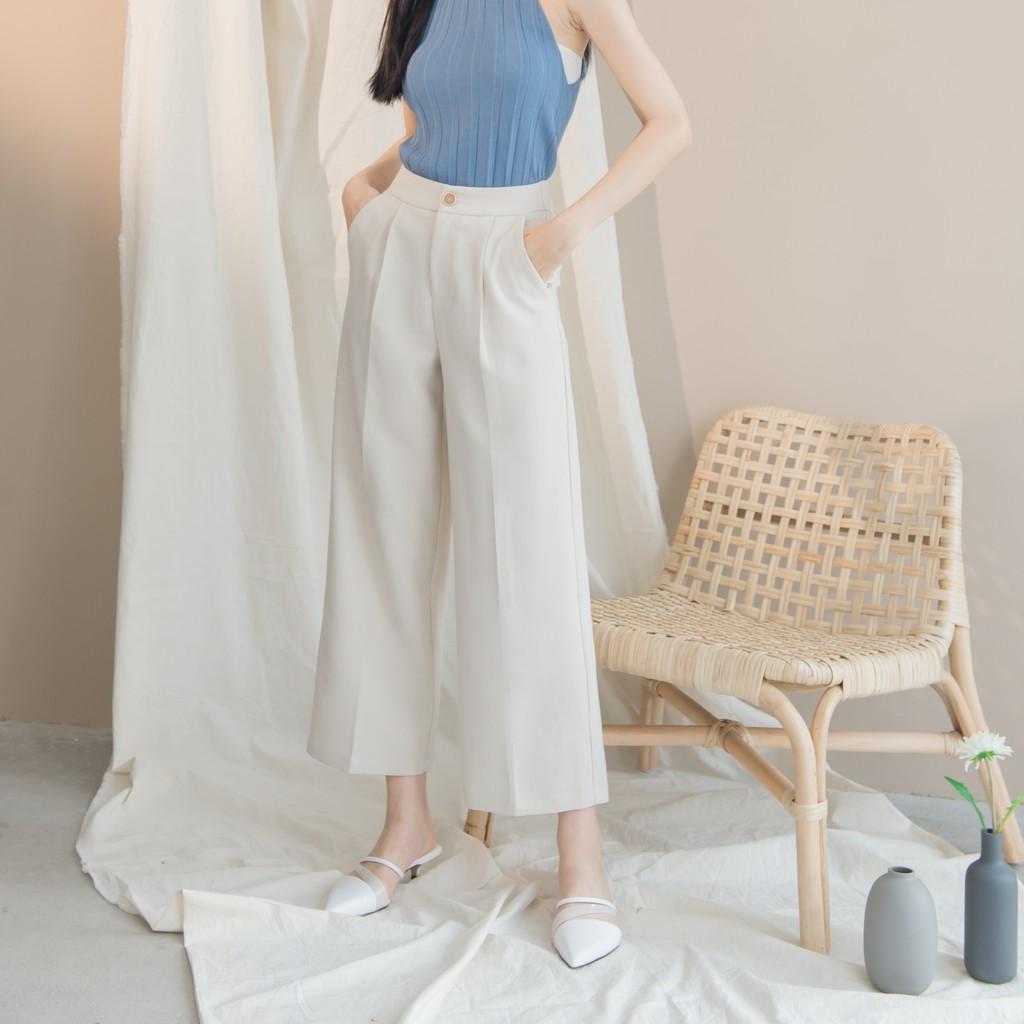 【MiROO】心機長腿單扣寬褲 (黑/杏)