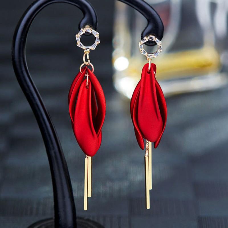流蘇耳釘韓國耳環長紅色耳墜2020潮女款釘網夸張網紅耳飾新款氣質