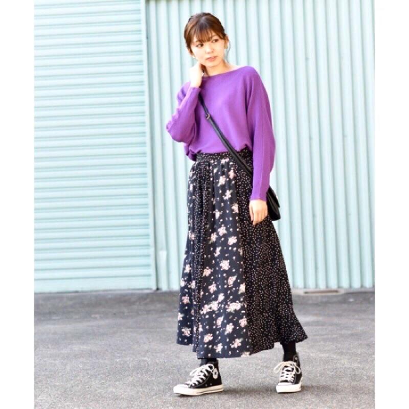 woolala日系品牌碎花點點拼接長裙