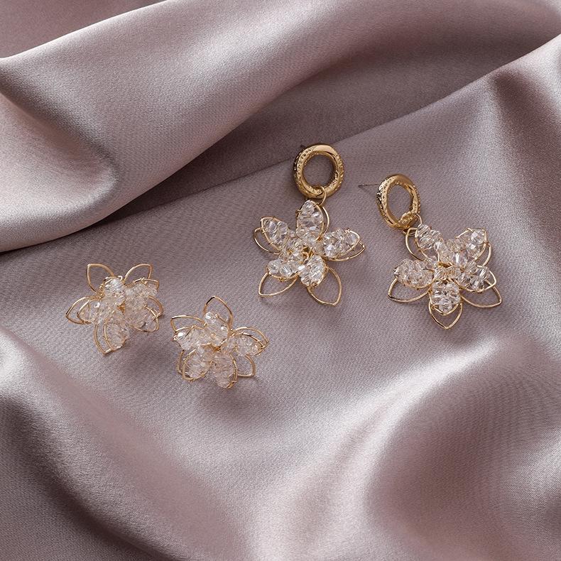 925銀針 韓國時尚復古手工立體水晶花朵耳釘耳環