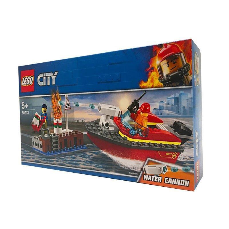 萍怡專營店2021爆款LEGO樂高 60213 CITY城市碼頭失火救援 男孩女孩拼裝積木益智玩具