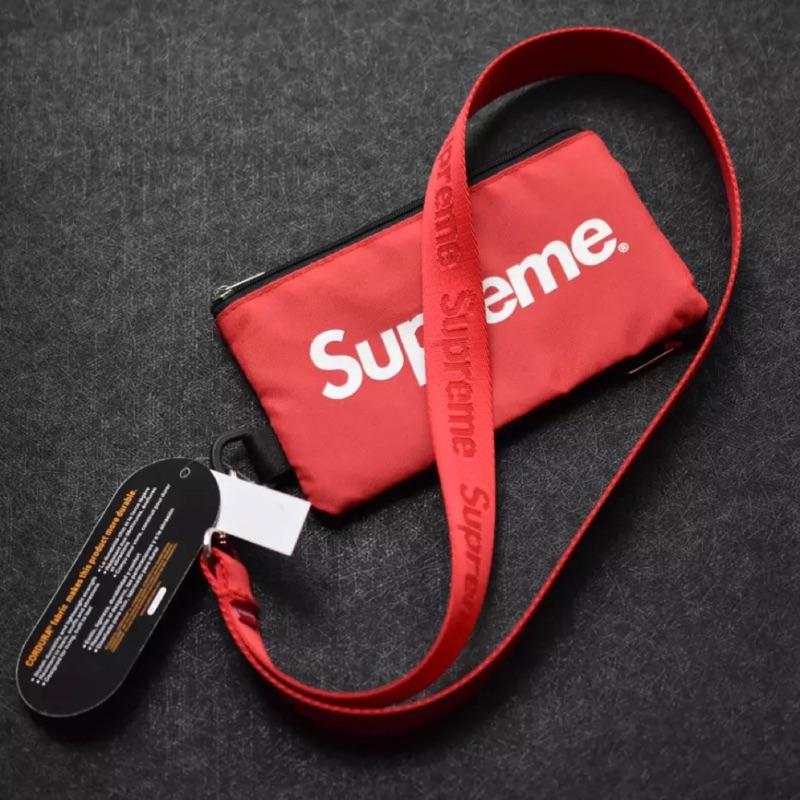 吾家 supreme掛繩零錢包 潮牌同款 便攜 手機包 卡包 鑰匙包 零錢袋 禮物 復古流行 文青愛用 ins IG拍照