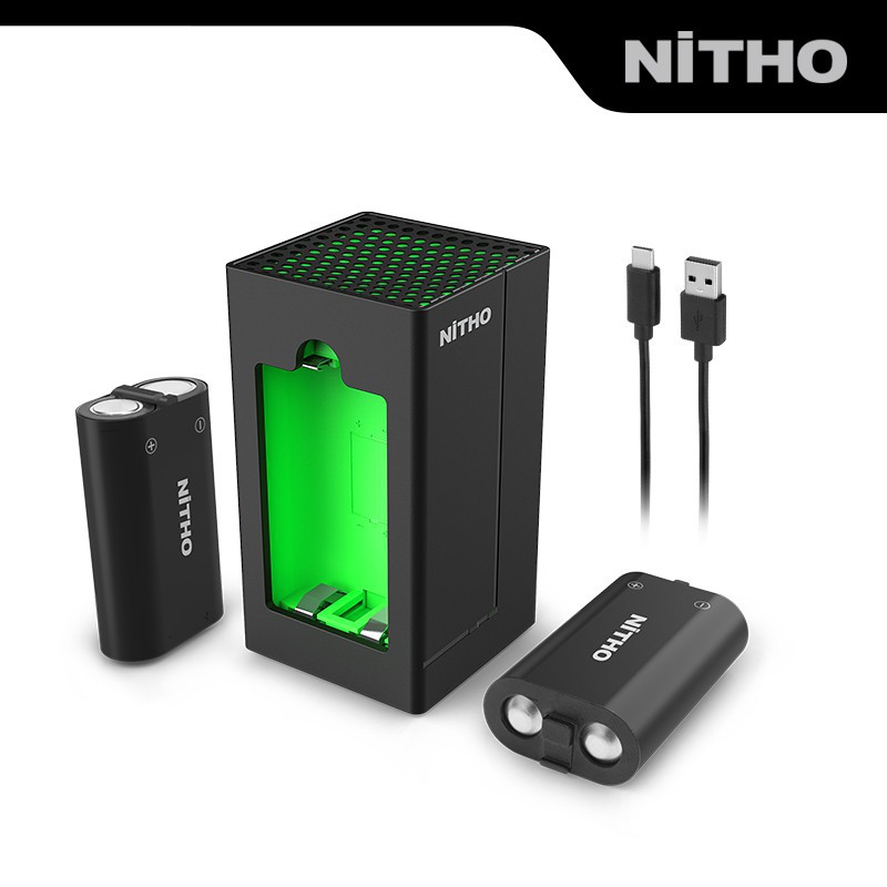 ♛☋卐【NiTHO】耐托XBOX Series/One S/X 無線手把充電雙充電池包配xbox配件 黑色