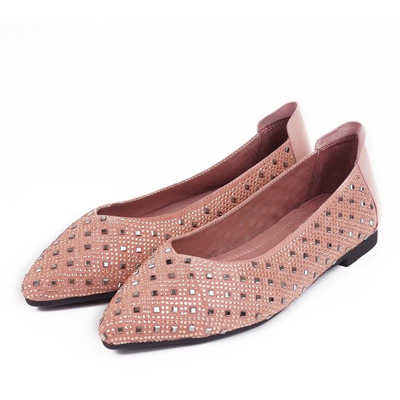 NANA精緻女鞋羊麂皮燙鑽平底包鞋粉