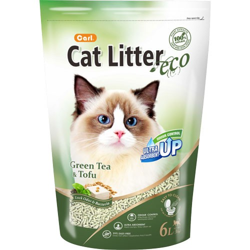 【寵物王國】 CARL卡爾-環保豆腐貓砂(綠茶)6L【天然除臭 凝結強 可沖馬桶】環保砂 豆腐砂
