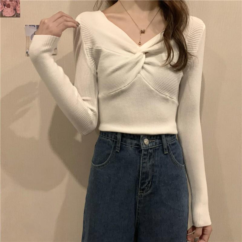 秋冬新款韓版復古素色V領交叉長袖針織衫設計感打底上衣女