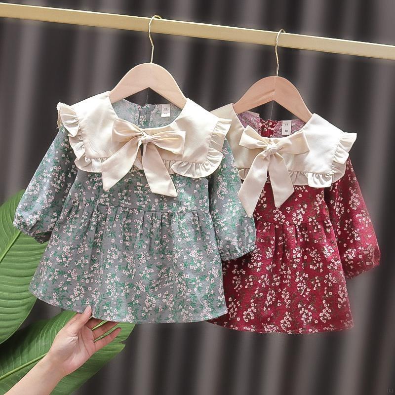女童可愛娃娃翻領拼色碎花連衣裙 兒童碎花洋裝 女寶寶甜美公主裙 裙子【IU貝嬰屋】