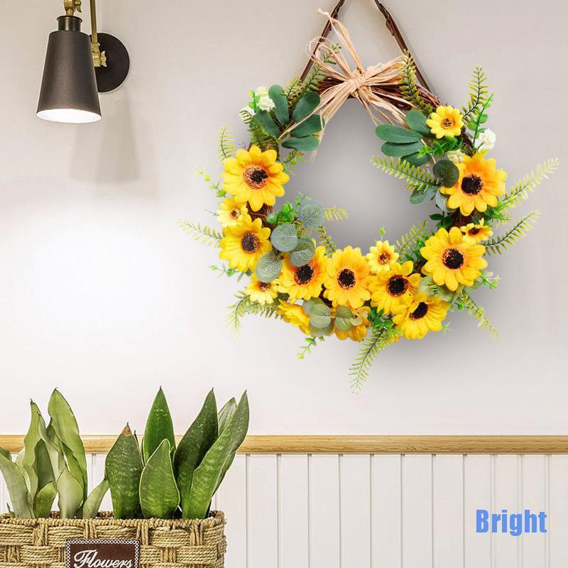 [明亮] 人造向日葵夏季花環裝飾假花花環