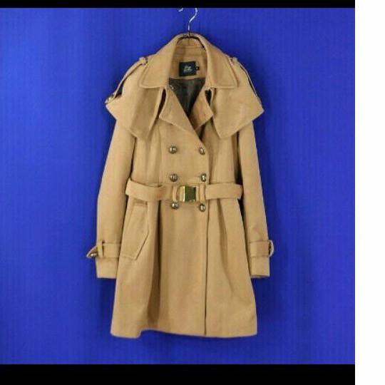 專櫃雙排釦 風衣式毛料長大衣外套 S號極新(M~小L可)超級美