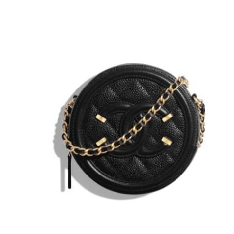 CHANEL 小圓餅 新款 黑色 鏈條包 圓形 單肩包 斜挎包 零錢包 AP0365 現貨