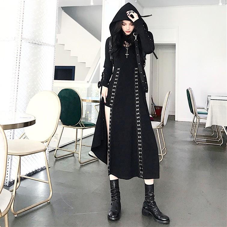 暗黑獨特款 細肩帶 開高叉 金屬交叉裝飾 性感 長洋 長洋裝 F3