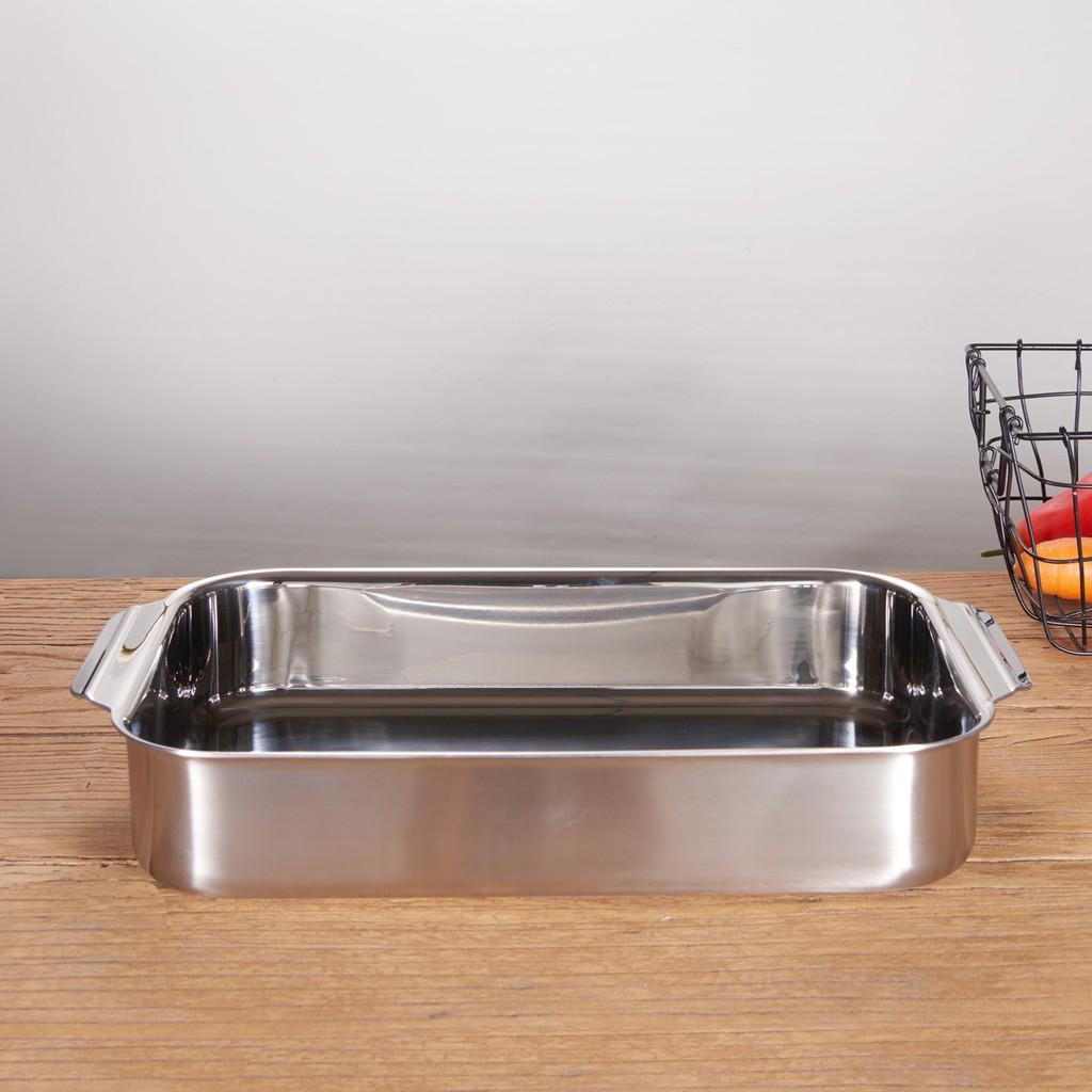 一體成型304不銹鋼長方形烤盆烘焙烤箱收納托盤燒烤可明火電磁爐