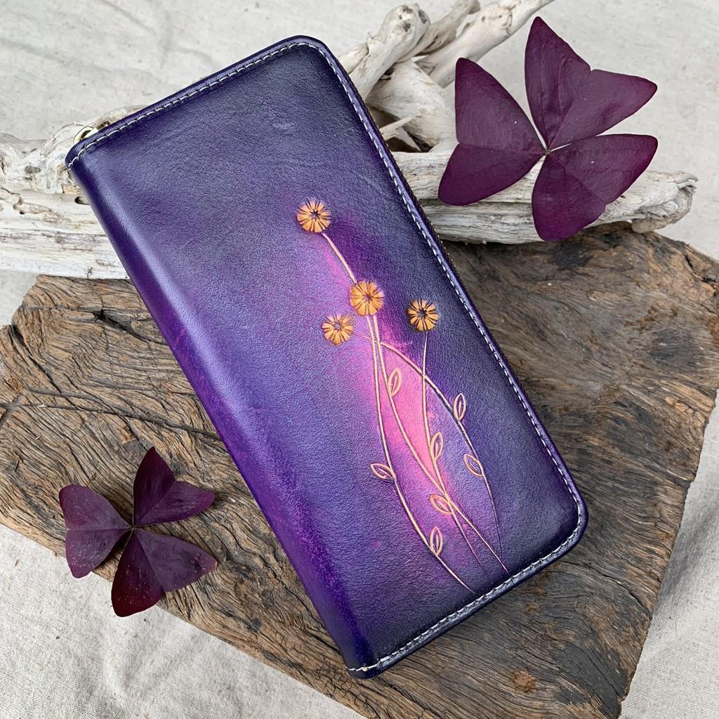 真皮拉鍊長夾-紫色晚霞 多夾層長夾