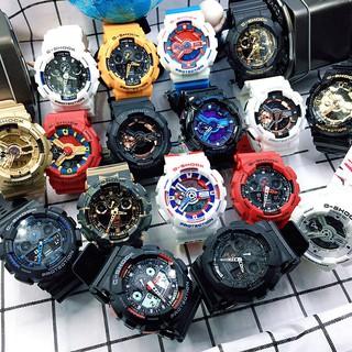 卡西歐男士手錶黑金 G-Shock 黑色戰士雙顯示屏運動手錶防水防震大錶盤時尚石英手錶 Ga-110Gb-1A 自動照明