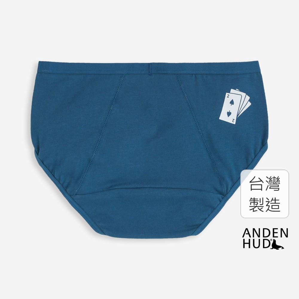 【Anden Hud】那年花開.中腰生理褲(青藍-黑桃2) 台灣製