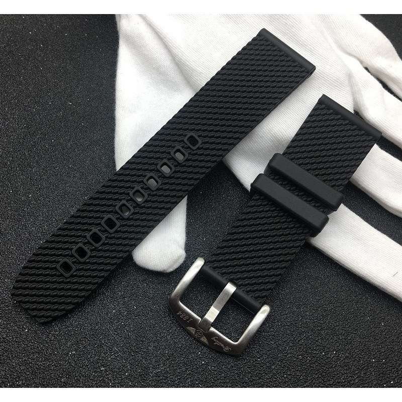 24mm橡硅膠手表帶適配百年靈超級海洋文化黑色AB201012Breitling