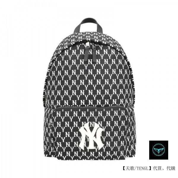 【天歌】正品代購 MLB雙肩包NY洋基隊韓版老花滿標刺繡大容量背包男女運動斜跨書包 後背包