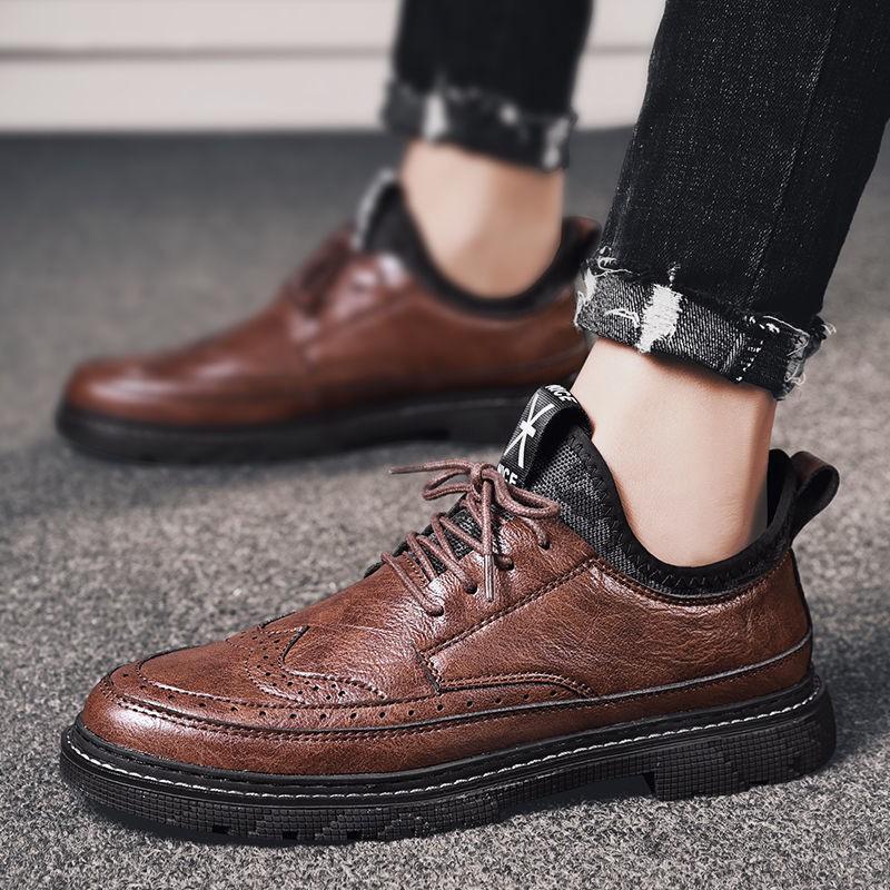 新款歐美韓國ZARA男士馬丁靴 踝靴 綁帶靴秋季男鞋2020新款馬丁鞋子男士潮鞋英倫風百搭布洛克商務休閑皮鞋