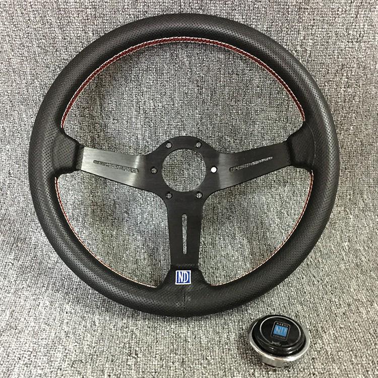 ND汽車改裝14寸淺凹黑色支架方向盤 紅色縫線真皮穿孔方向盤NARDI K8 通用方向盤