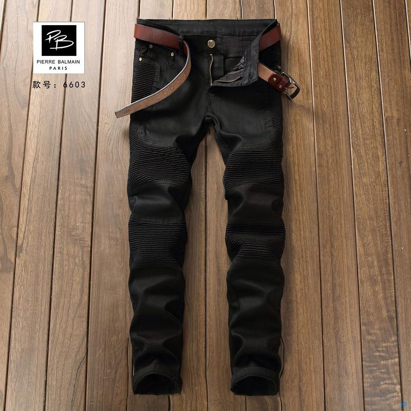 新款Balmain男士牛仔褲 巴爾曼牛仔褲 JEANS水洗後袋特色楓葉LOGO袖章 直筒修身 破洞牛仔褲