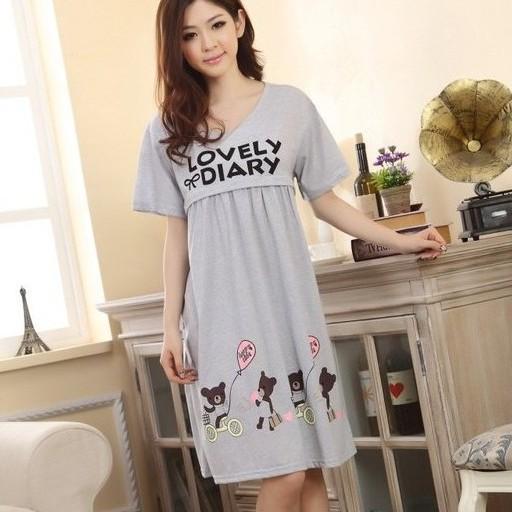 [滿額免運] 歡樂熊家族 棉質月子裙 短袖 哺乳裙 哺乳衣 孕婦裝 BabyShare時尚孕婦裝 (111050)