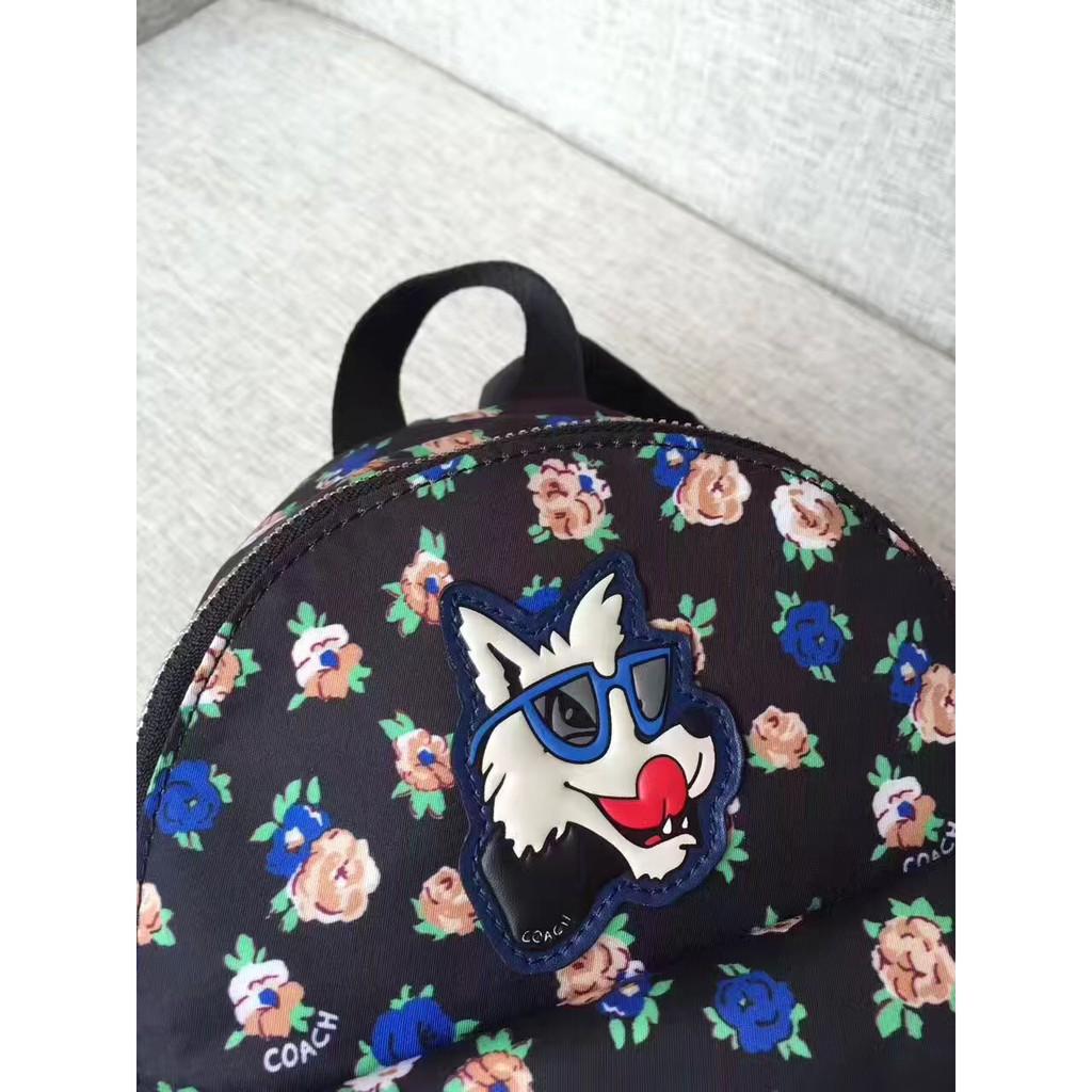 @Choukayi代購COACH蔻馳 COACH 57636 時尚小狗與小花 Mini雙肩包 後背包 布配皮 附購買憑證