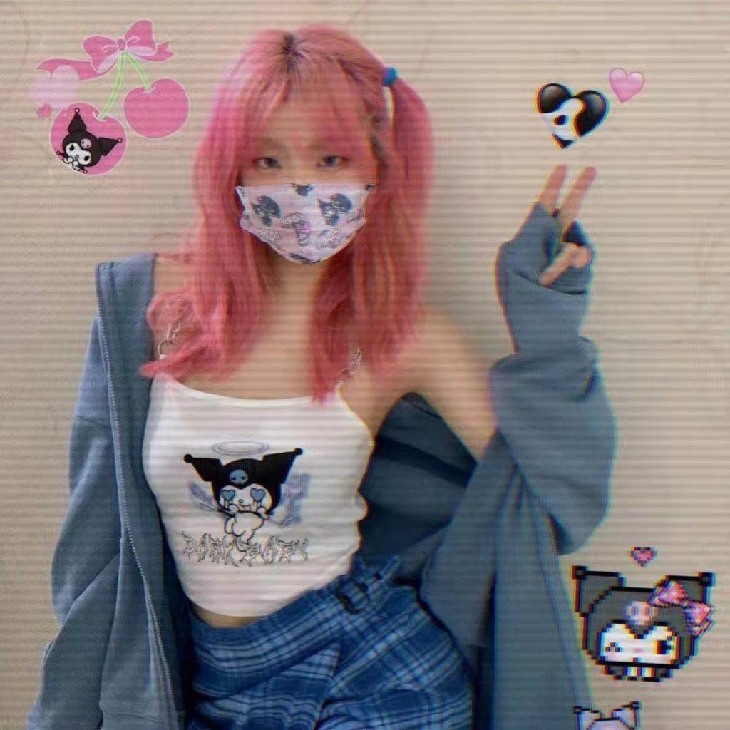 【現時免運】庫洛米卡通網紅防塵口罩女時尚 高顏值 庫洛米口罩 小惡魔口罩 灰色口罩 卡通口罩 非醫療