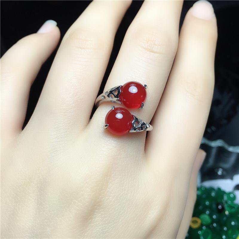 【現貨】天然紅玉髓寶石戒指S925純銀女時尚個性瑪瑙食指指環本命年禮物