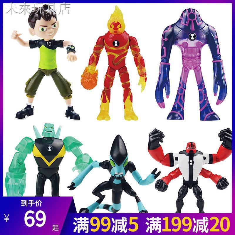 ♦⊕♝少年駭客BEN10基礎可動人偶Omnitrix田小班火焰人外星英雄玩具