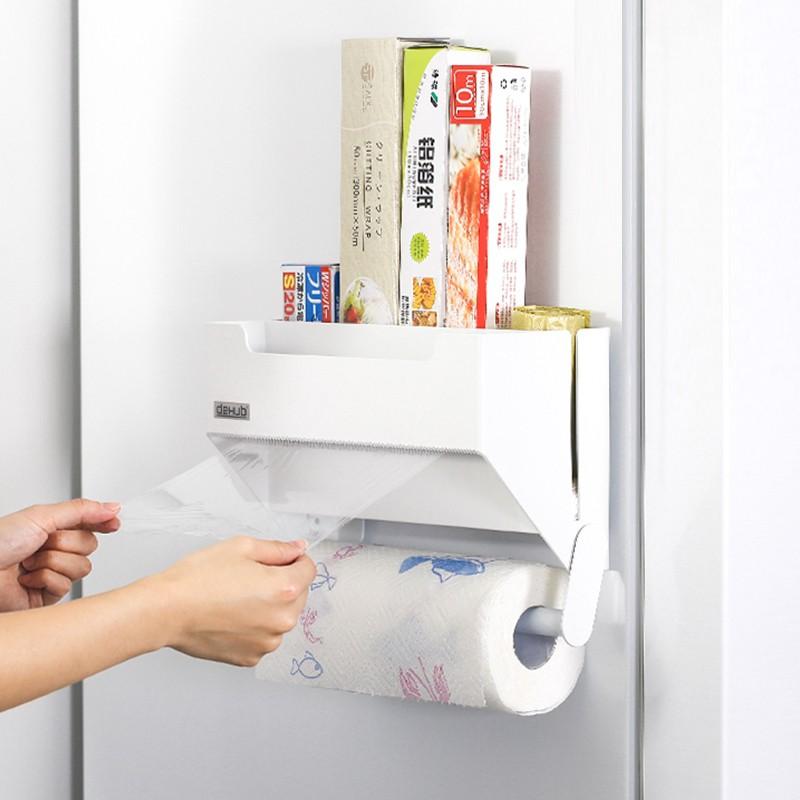 廚房紙巾架  熱賣  無痕冰箱 置物架 側 收納 壁掛 架廚房用紙放保鮮膜 收納 架 紙巾 架卷紙架