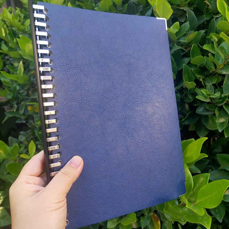 【藍色】A4軟皮面可拆卸活頁本A5簡約便攜大本子5mm方格橫線版康奈爾5r高效筆記本B5錯題本備課本理財記賬本耐磨封面*