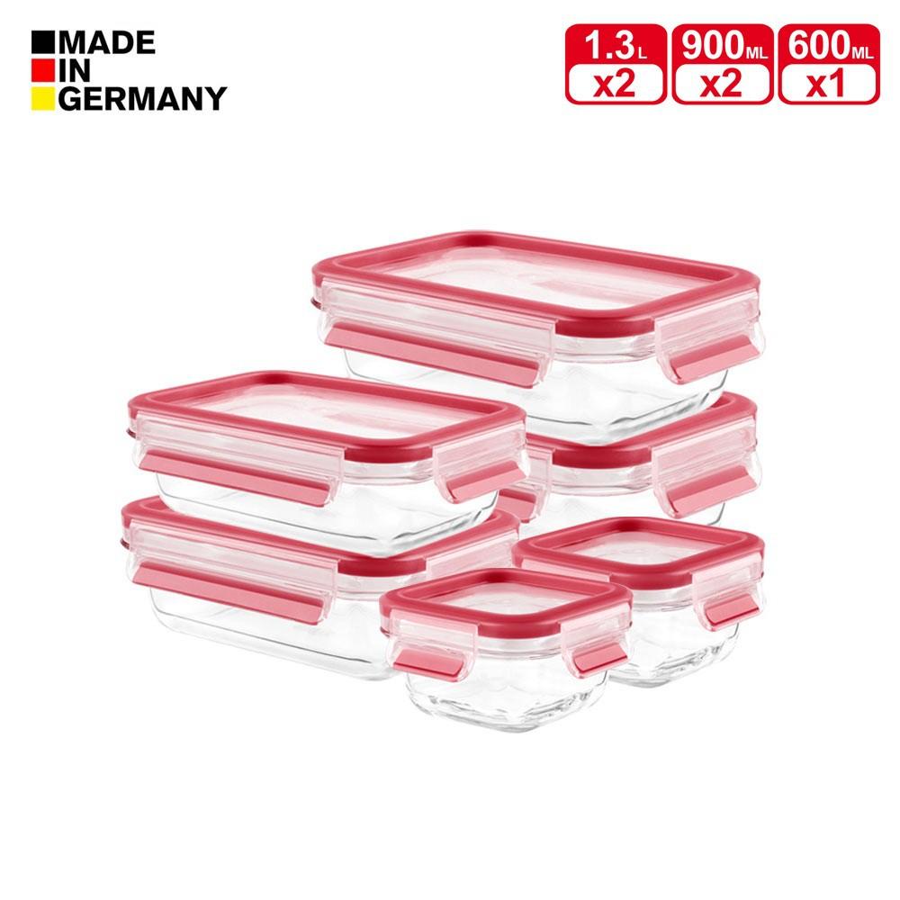 【Tefal 特福】 德國EMSA原裝 無縫膠圈3D密封耐熱玻璃保鮮盒-加大五件組《WUZ屋子》