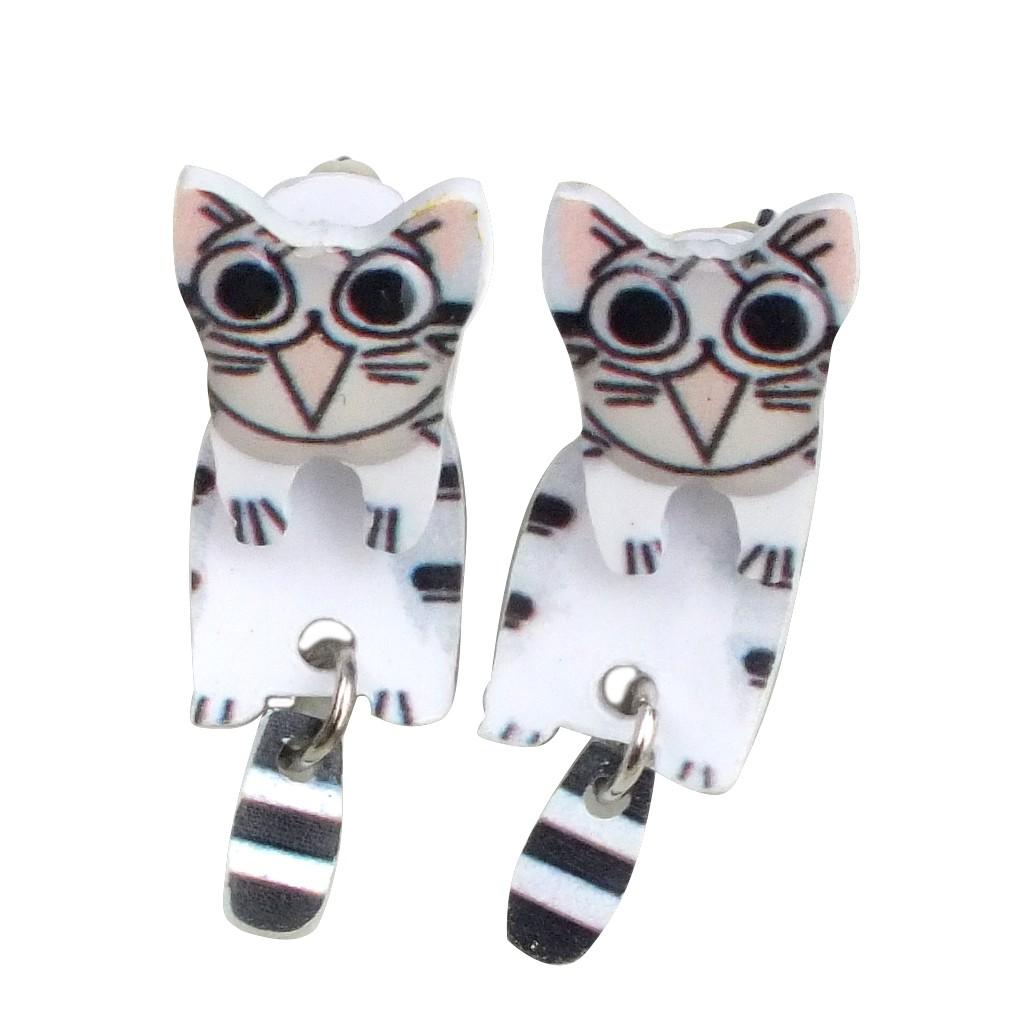 韓版創意手作 起司小貓 卡通可愛耳釘 趣味耳環 耳飾 2用款 艾豆 NNB5153
