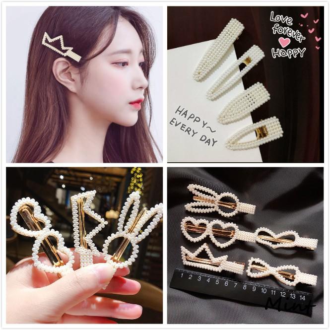 珍珠髮夾韓國幾何時尚發鉗女孩發卡髮飾F156