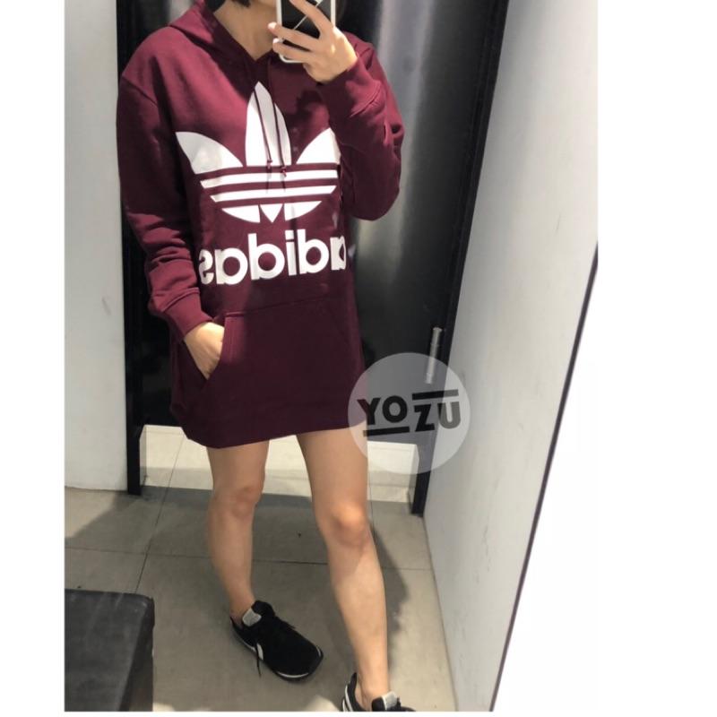 ⭐️YOZU ⭐️愛迪達 adidas 女生 帽t 酒紅色  長版 DH3152 內刷毛