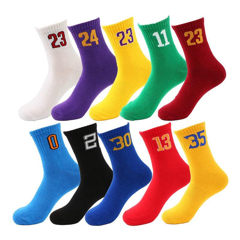 男襪全棉球隊數字襪運動襪 男士純棉中筒毛巾底 減震籃球襪 批發籃球襪
