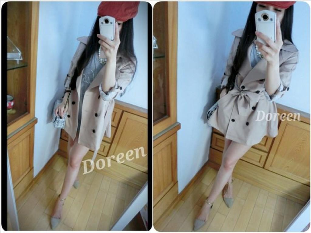 Doreen韓國大熱賣 挺版袖蕾絲風衣外套 杏 韓妮 NAKED 貓貓