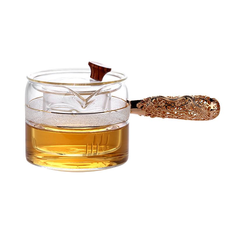 【茶藝】耐熱玻璃泡茶壺純銅側把煮茶壺電陶爐燒水壺茶具普洱茶蒸汽煮茶器
