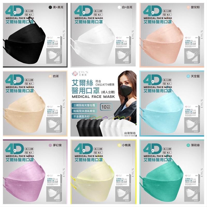 C&K生活-艾爾絲KF立體醫療口罩(現貨)/韓國KF樣式/多種顏色/黑/白/藍/綠/灰(耳繩配色)台灣製造/MD雙鋼印