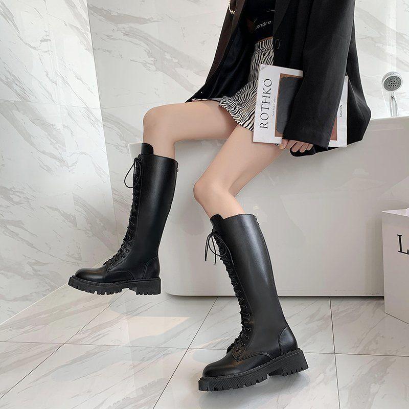 [免運][2020秋冬款不過膝中筒靴]騎士靴女2020年秋冬新款長靴高筒馬丁靴長筒靴中筒小個子不過膝靴