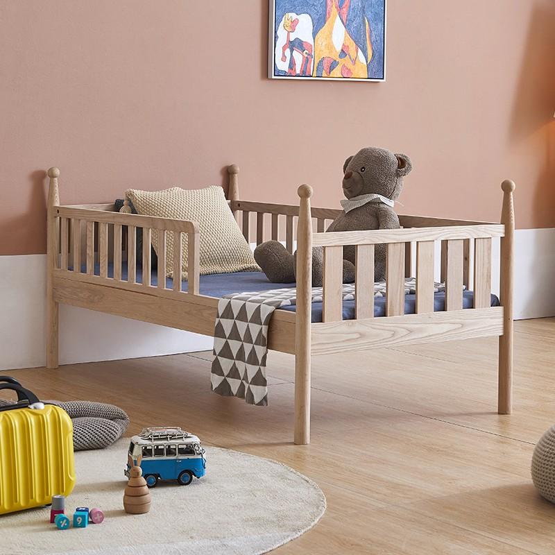 兒童床全實木ikea 嬰兒床加寬拼接床大床雙胞胎床邊床寶寶床帶護欄小床