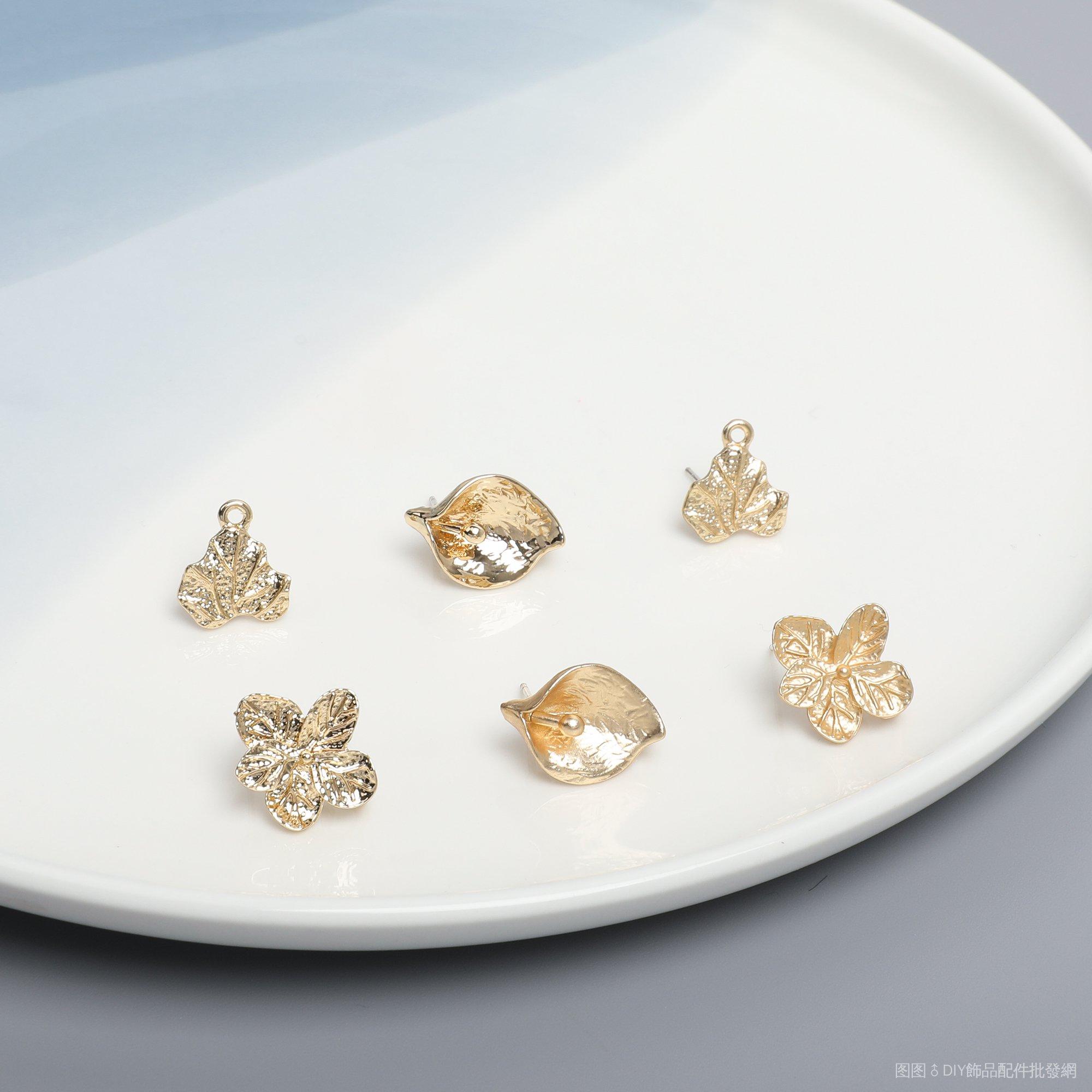 手工DIY/韓國同款復古楓葉馬蹄蓮繡球花合金耳釘DIY手工飾品耳環配件材料