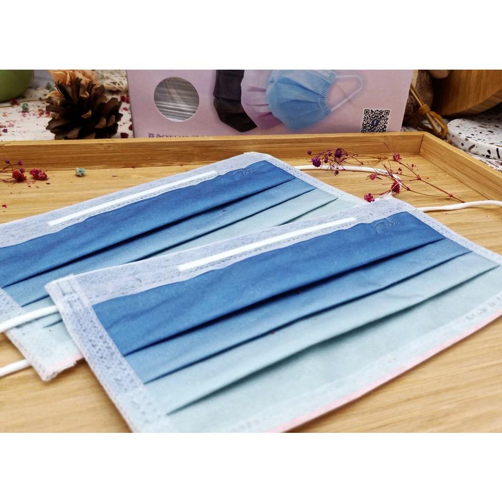 新上市【快速出貨】銘虹 雙鋼印 醫療 成人 平面口罩-【漸層/藍色 盒裝50入】現貨/深藍/淺藍/漸變