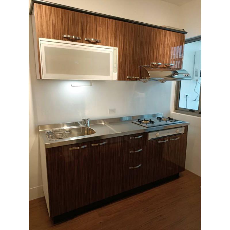 傑力廚具#一字型上下配 210公分右邊靠牆 木紋色水晶門 檯面龍頭一只 櫻花三機 不鏽鋼檯面