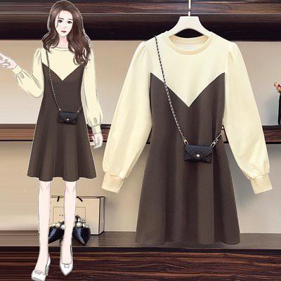 洋裝 拼接裙 長袖 中大尺碼L-4XL韓版大碼微胖mm寬鬆顯瘦減齡小背包連身裙 4F093-3812.胖胖美依