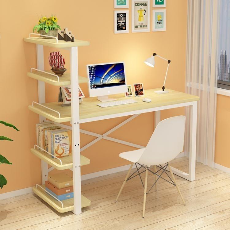 電腦桌 臺式家用兒童小書桌書架組合簡易辦公寫字臺簡約學生學習桌1