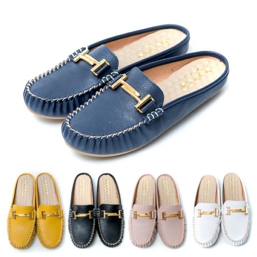 【白鳥麗子】穆勒鞋 MIT經典百搭金屬扣環平底拖鞋