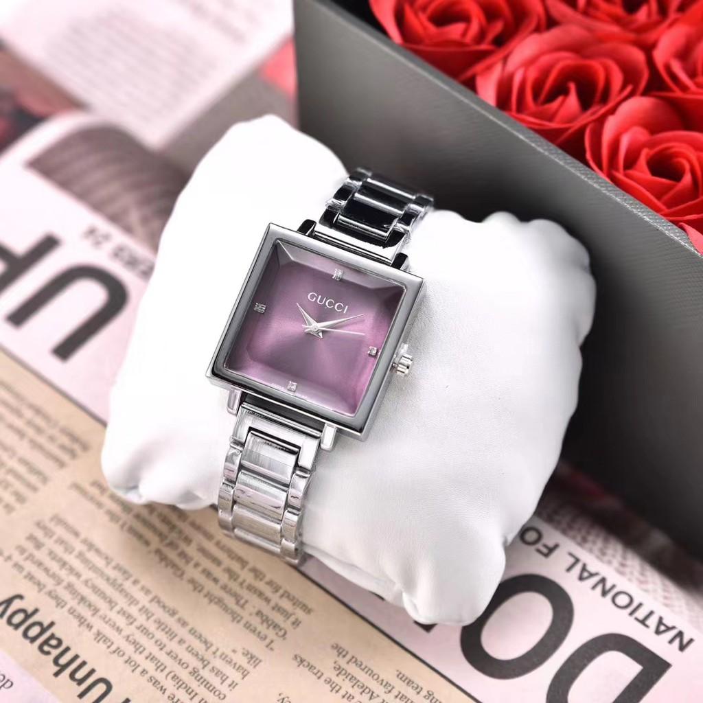 Gucci 古馳手錶  簡約腕錶 精美古馳石英對錶 女錶 男錶 情侶鋼對錶 四方形錶盤手錶